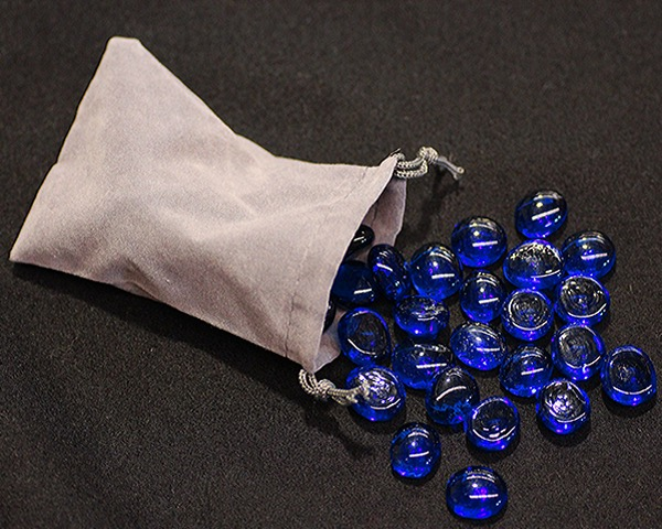 Dark Blue Glass Gaming Stones With Grey Velour Pouch