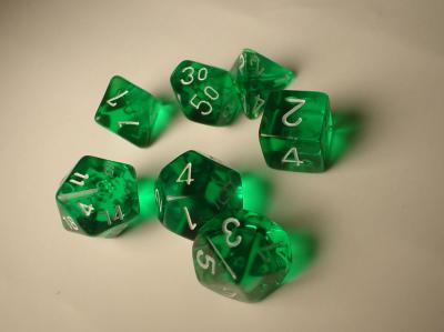Chessex Dice Sets: Green/White Translucent Polyhedral 7-Die Set