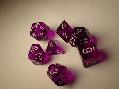 Chessex Dice Sets: Purple/White Translucent Polyhedral 7-Die Set