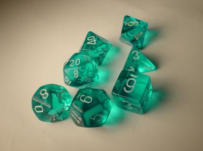Chessex Dice Sets: Teal/White Translucent Polyhedral 7-Die Set
