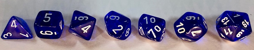 Chessex Dice Sets: Blue/white Translucent Polyhedral 7-Die Set