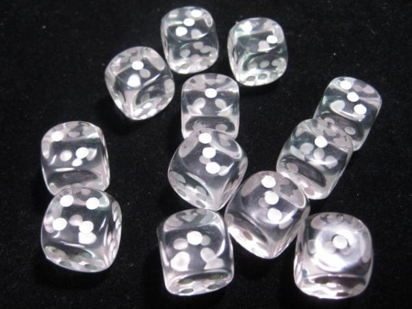 Chessex Dice Sets: Clear/White Translucent 16mm d6 (12)