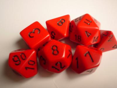 Chessex Dice Sets: Red/Black Opaque Polyhedral 7-Die Set