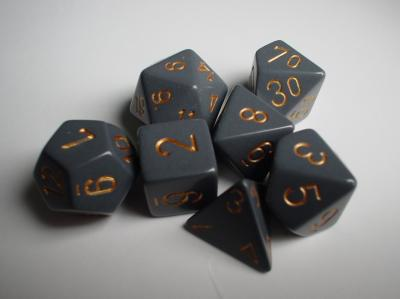 Chessex Dice Sets: Grey/Copper Dusty Opaque Polyhedral 7-Die Set