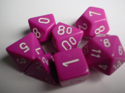 Chessex Dice Sets: Light Purple/White Opaque Polyhedral 7-Die Set