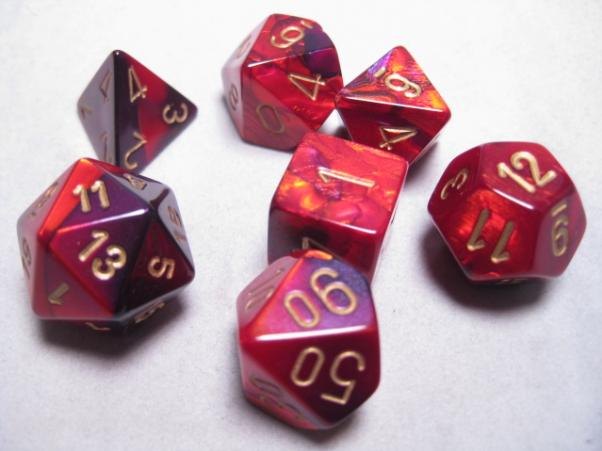 Chessex Dice Sets: Purple-Red/Gold Gemini Polyhedral 7-Die Set