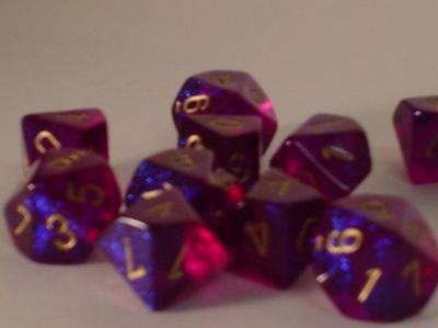 Chessex Dice Sets: Royal Purple/Gold Borealis d10 Set (10)
