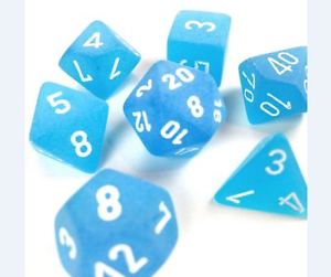 Chessex Dice Sets: Caribbean Blue/White Frosted Polyhedral 7-Die Set
