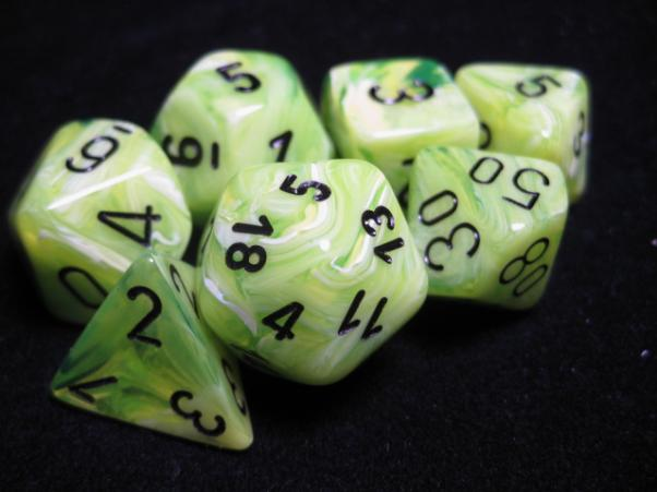 Chessex Dice Sets: Vortex Bright Green w/Black Polyhedral 7-Die Set (Discontinued)