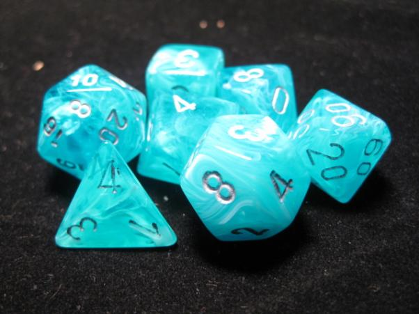 Chessex Dice Sets: Aqua/Silver Cirrus Polyhedral 7-Die Set