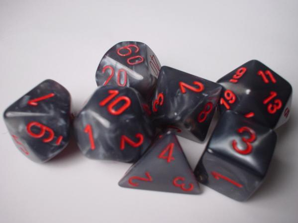 Chessex Dice Sets: Black/Red Velvet Polyhedral 7-Die Set