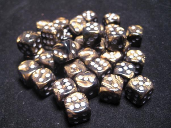 Chessex Dice Sets: Black-Gold/Silver Leaf 12mm d6 (36)