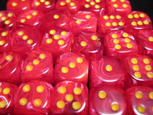 Chessex Dice Sets: Vortex Red w/Yellow 12mm d6 (36) (Discontinued)