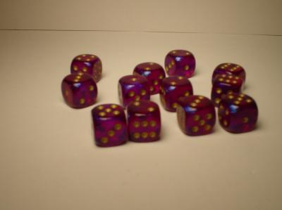 Chessex Dice Sets: Royal Purple/Gold Borealis 12mm d6 (36)