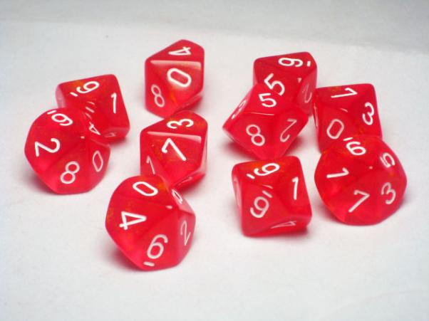 Chessex Dice Sets: Red/White Borealis d10 Set (10)