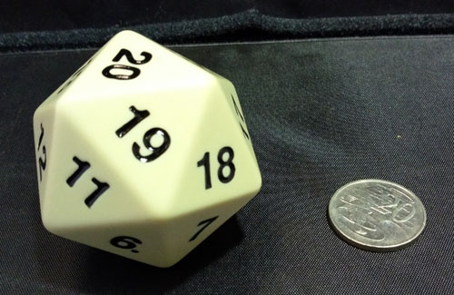 Super Jumbo 55mm D20 Countdown Die - Ivory