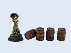Infinity Sci-Fi Terrain: Medium Wooden Barrels (4)